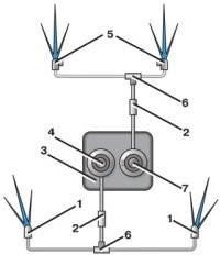 —16. Схема омывателей ветрового стекла и стекол фар