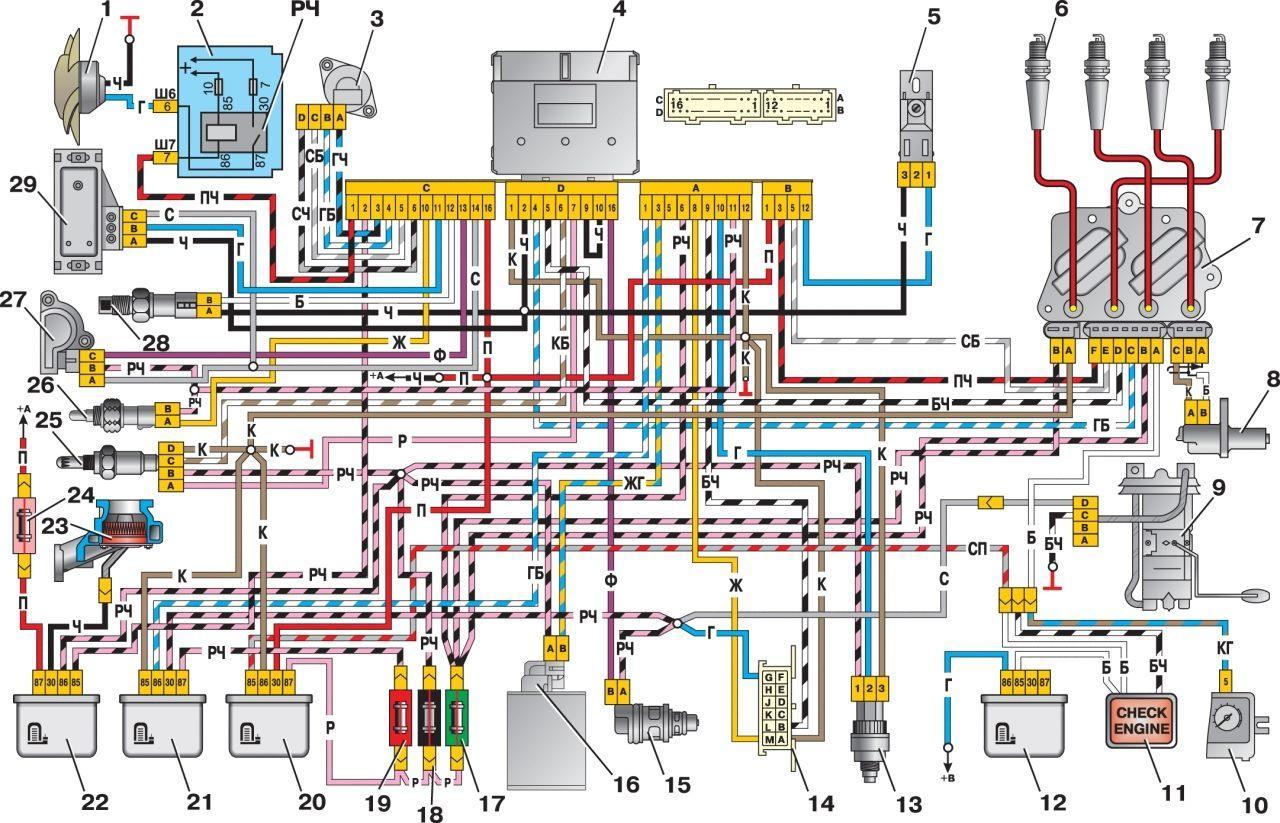 лада калина электрическая схема по охлаждению двигателя