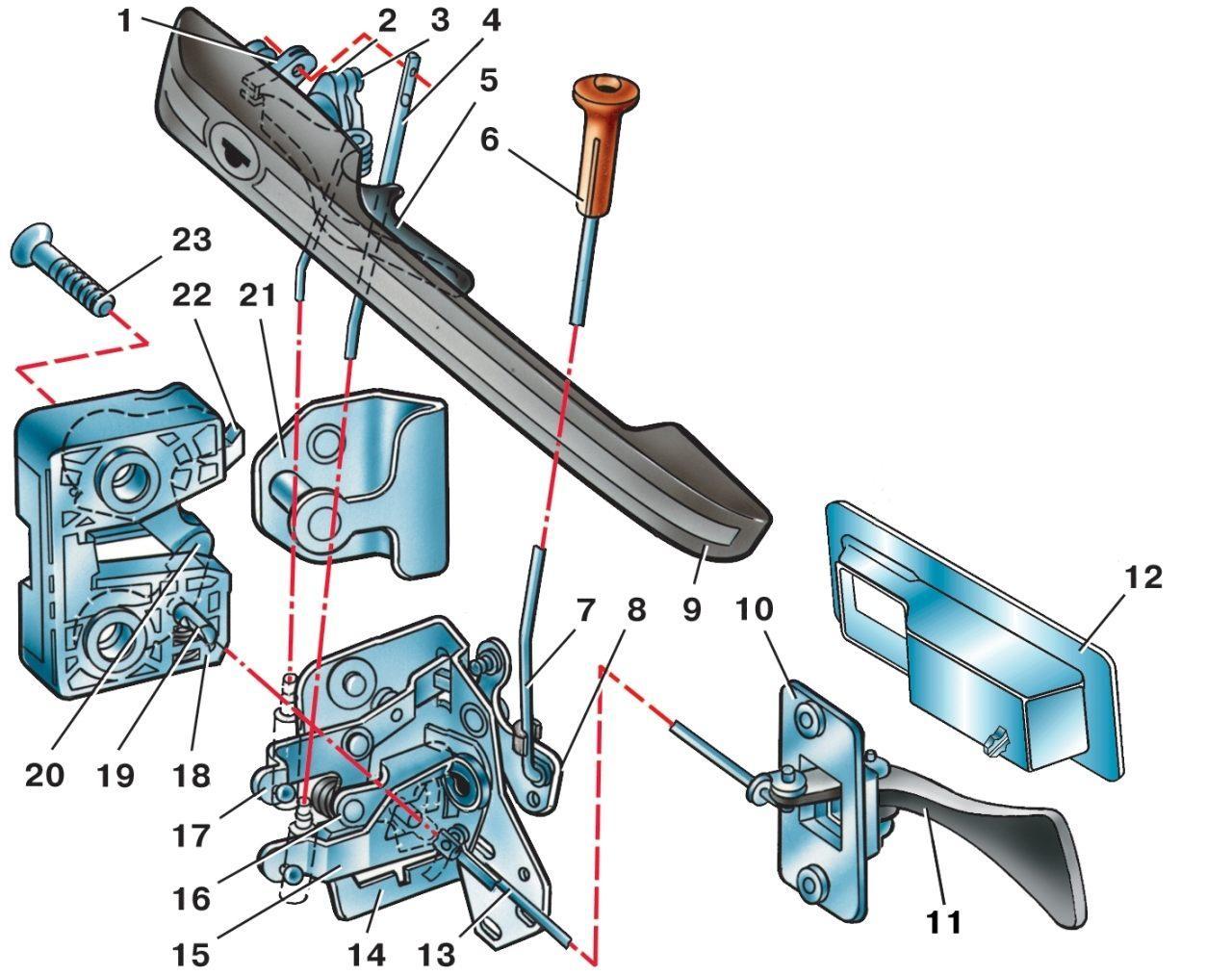 Показать механизм ручки включения воздуха ланос