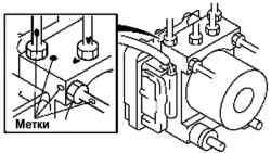 Нанесение установочных меток на тормозной магистрали и гидравлическом блоке антиблокировочной системы тормозов