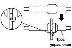 Схема установки троса выбора передачи
