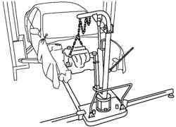 Закрепление двигателя и коробки передач на подъемнике