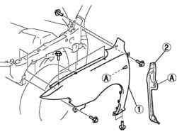 Снятие панели переднего крыла