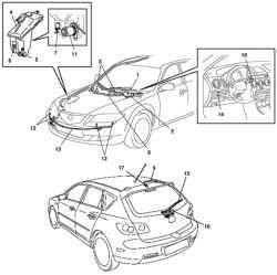 Стеклоочистители и стеклоомыватели стекол автомобиля Mazda 3