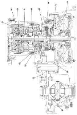 Поперечное сечение автоматической коробки передач FN4A-EL автомобиля Mazda 3