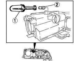 Порядок снятия компонентов лампы переднего указателя поворота