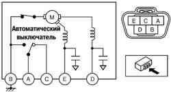 Схема проверки электродвигателя стеклоочистителя