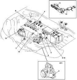 Компоненты системы управления автомобиля с двигателем Z6
