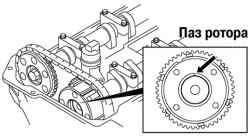 Совмещение паза ротора с выпуклостью крышки механизма изменения фаз газораспределения