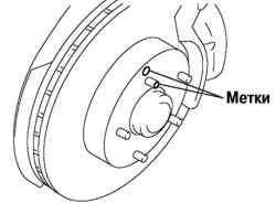 Нанесение меток на ступицу колеса и тормозной диск