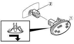 Порядок снятия компонентов лампы бокового указателя поворота