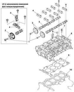 Компоненты первой стадии разборки головки блока цилиндров