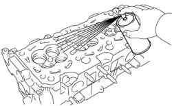 Использование красителя при проверке блока цилиндров