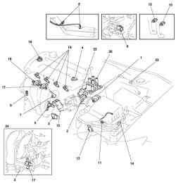 Общий вид расположения компонентов системы управления автомобиля Mazda 3