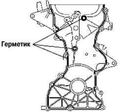 Места нанесения герметика на переднюю крышку двигателя