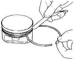 Измерение зазора между поршневым кольцом и канавкой кольца