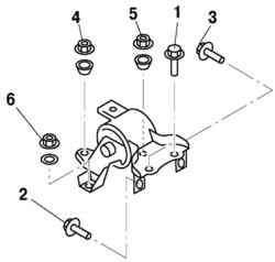 Порядок затягивания болта и гайки крепления кронштейна опоры двигателя №4 и опоры двигателя №4