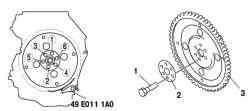 Компоненты ведущего диска и порядок отворачивания болтов крепления