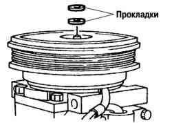 Установка новой прокладки между нажимным диском и шкивом компрессора