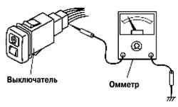 Схема проверки управляющего переключателя освещения на панели приборов