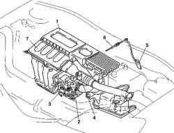 Компоненты системы впуска автомобиля с двигателем Z6