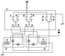 Монтажная схема системы зеркал заднего вида с электроприводом