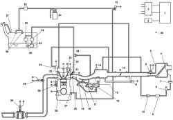 Схема системы управления топливной системой автомобиля Mazda 3: 1 – блок PCM; 2 – катушка зажигания; 3 – генератор; 4* – заслонка системы VAD; 5 – воздушный фильтр; 6 – датчик массового расхода воздуха; 7* – исполнительный механизм заслонки системы VAD; 8* – управляющий электромагнитный клапан системы VAD; 9* – вакуумная камера; 10* – обратный клапан системы VAD; 11 – регулятор холостого хода; 12 – электромагнитный клапан продувки; 13 – датчик положения дроссельной заслонки; 14 – датчик абсолютного давления; 15* – управляющий электромагнитный клапан системы VIS; 16 – управляющий электромагнитный клапан Variable tumble; 17* – исполнительный механизм заслонки системы VIS; 18* – заслонка системы VIS; 19 – исполнительный механизм заслонки системы VTCS; 20 – заслонка системы VTCS; 21 – топливная форсунка; 22* – управляющий масляный клапан; 23 – датчик положения распредвала; 24 – клапан системы рециркуляции отработавших газов; 25 – датчик детонации; 26 – датчик температуры охлаждающей жидкости; 27 – клапан вентиляции картера; 28 – датчик положения коленвала; 29 – датчик концентрации кислорода с подогревом (передний); 30 – датчик концентрации кислорода с подогревом (задний); 31 – емкость с активированным углем (адсорбер); 32 – обратный клапан (двухсторонний); 33 – регулятор давления; 34 – топливный фильтр (высокого давления); 35 – топливный насос; 36 – топливный фильтр (низкого давления); 37 – топливный бак; 38 – гравитационный клапан; 39 – гаситель пульсаций; 40 – к блоку PCM; Примечание – *