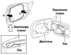 Разборка зеркала заднего вида с электроприводом
