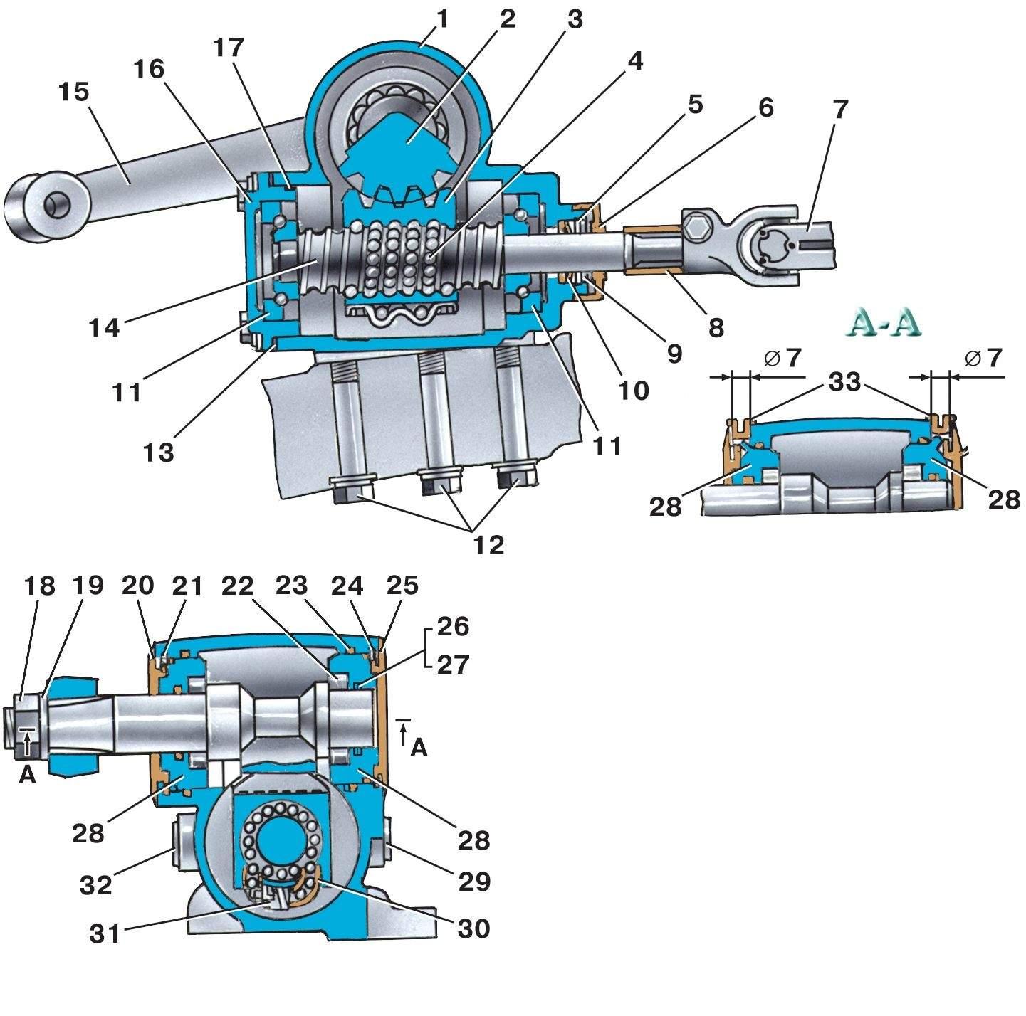 схема рулевой колонкм уаз452
