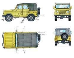 Основные размеры автомобилей УАЗ–31512, УАЗ–31514   (* Для автомобиля УАЗ–31514)
