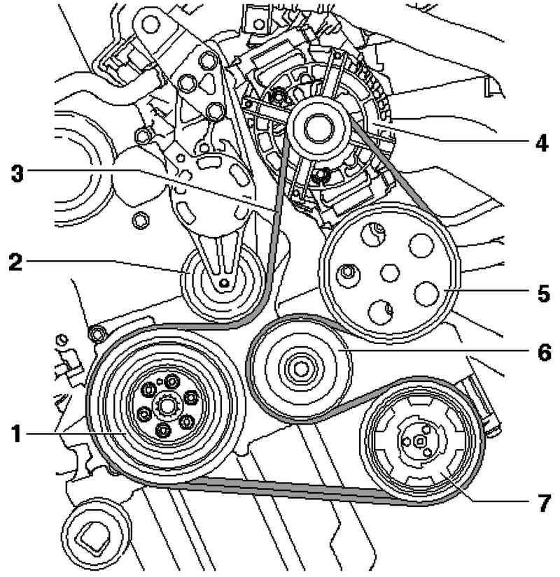 Схема установки ремня генератора на т5