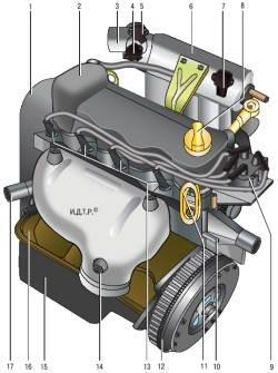 Вид двигателя с левой стороны