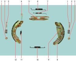 Детали тормозного механизма заднего колеса (показаны детали тормозного механизма с левой стороны)