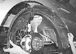 Снятие и установка брызговиков колес и подкрылков