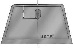 Разметка положения кронштейна крепления зеркала на стекле ветрового окна