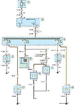 Схема 23. Габаритное освещение и подсветка номерного знака