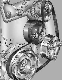 Установка приспособления для монтажа ремня привода вспомогательных агрегатов в исходное положение перед монтажом ремня