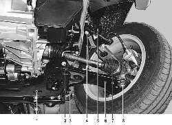 Расположение элементов передней подвески на автомобиле