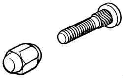 Гайка и шпилька крепления колеса