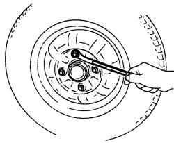 Отворачивание гаек крепления колеса