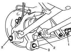 Болт крепления троса стояночной тормозной системы, внешние болты рычага подвески и болт рычага