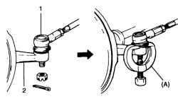 Отсоединение наконечника рулевой тяги от поворотного кулака