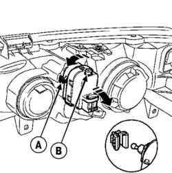 Снятие электродвигателя корректора фар