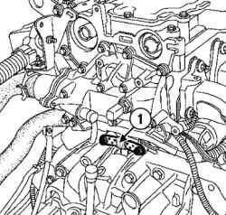 Местоположение датчика положения и частоты вращения коленчатого вала двигателя