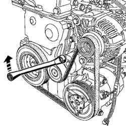 Проворачивание автоматического натяжителя ремня привода вспомогательных агрегатов