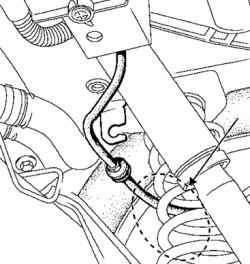Область проверки не закрепленного троса привода стояночного тормоза с усилителем