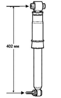 Измерение длины заднего амортизатора
