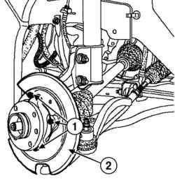 Снятие защитного кожуха диска переднего тормоза