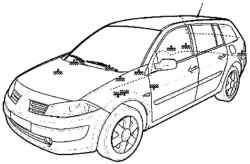 Расположение тoчек соединения на «массу» автомобиля Megane II с кузовом «универсал»