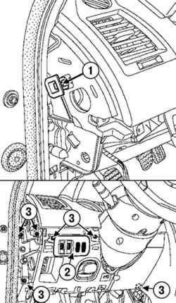 Снятие панели переключателя корректора фар и регулятора яркости освещения приборов